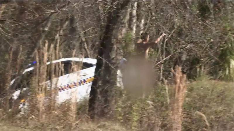 Naked man driving stolen JSO cruiser crashes into woods on I-10
