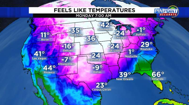 Feels like temperatures Monday