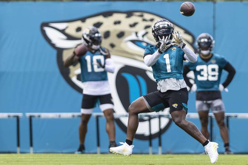 Travis Etienne of the Jacksonville Jaguars catches a pass during Jacksonville Jaguars Training Camp at TIAA Bank Field on June 08, 2021 in Jacksonville, Florida. (Photo by James Gilbert/Getty Images)
