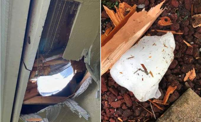 Large chunk of ice falls from sky through Florida home's roof (Martin County Sheriff's Office)