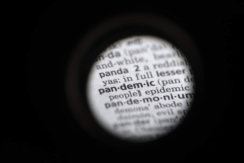 """In this Saturday, Nov. 21, 2020, photo taken through a camera lens the word """"pandemic"""" in seen in a dictionary in Washington. Dictionary.com declared pandemic its 2020 word of the year. (AP Photo/Jenny Kane)"""