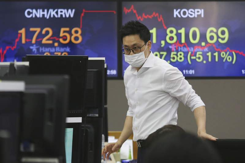 A currency trader wearing a face mask watches monitors at the foreign exchange dealing room of the KEB Hana Bank headquarters in Seoul, South Korea, Thursday, March 12, 2020. Asian shares plunged Thursday after the World Health Organization declared a coronavirus pandemic and indexes sank on Wall Street. (AP Photo/Ahn Young-joon)