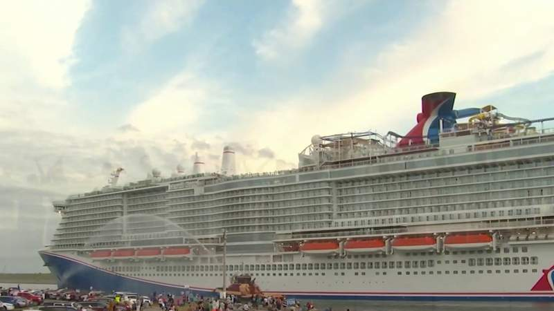 Carinval Mardi Gras cruise ship arrives at Port Canaveral