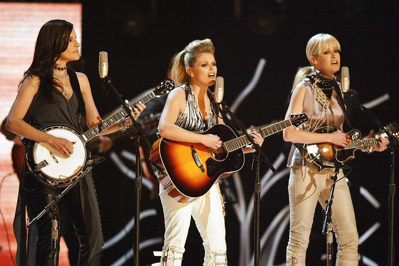 The Dixie Chicks perform at the 45th Annual Grammy Awards at Madison Square Garden on February 23, 2003 in New York City. (Photo by Frank Micelotta/Getty Images)