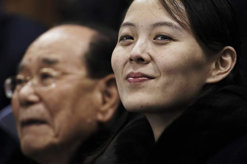 FILE - In this Feb. 10, 2018, file photo, Kim Yo Jong, the sister of North Korean leader Kim Jong Un, waits with North Korea's nominal head of state, Kim Yong Nam, for the start of a women's hockey game at the 2018 Winter Olympics in Gangneung, South Korea. After giving the Biden administration the silent treatment for two months, North Korea this week marshalled two of the most powerful women in its leadership to warn Washington over combined military exercises with South Korea and the diplomatic consequences of its hostile policies toward Pyongyang. (AP Photo/Felipe Dana, File)