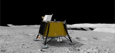 A rendering of Firefly Aerospace's Blue Ghost lunar lander set to launch with SpaceX in 2023. (Image: Firefly Aerospace)