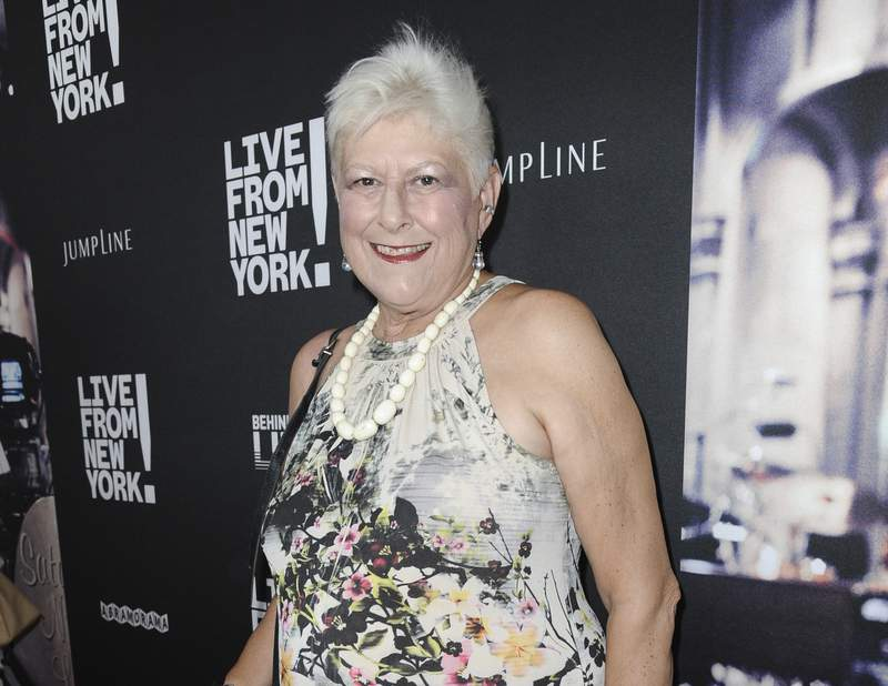 """FILE - Anne Beatts arrives at the premiere of """"Live from New York!"""" in Los Angeles on June 10, 2015. Beatts, a groundbreaking comedy writer who was on the original staff of Saturday Night Live and later created the cult sitcom Square Pegs, died Wednesday, April 7, at her home in West Hollywood, California, according to her close friend Rona Kennedy. She was 74. (Photo by Richard Shotwell/Invision/AP, File)"""