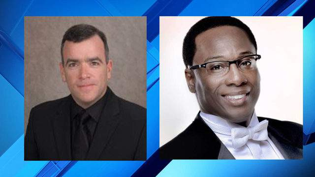 Director of West Orange High School's choral activities Jeffery Redding (right) and Freedom High School's band director Michael Antmann (left).