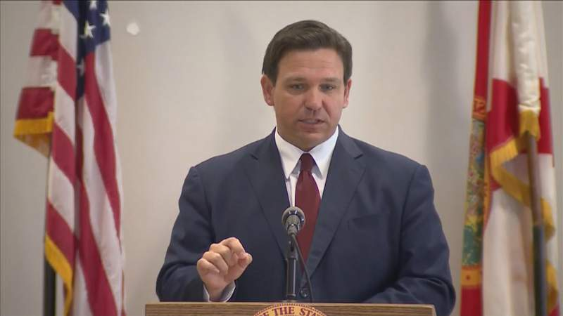Gov. Ron DeSantis speaks at Feb. 19 news conference in West Palm Beach.