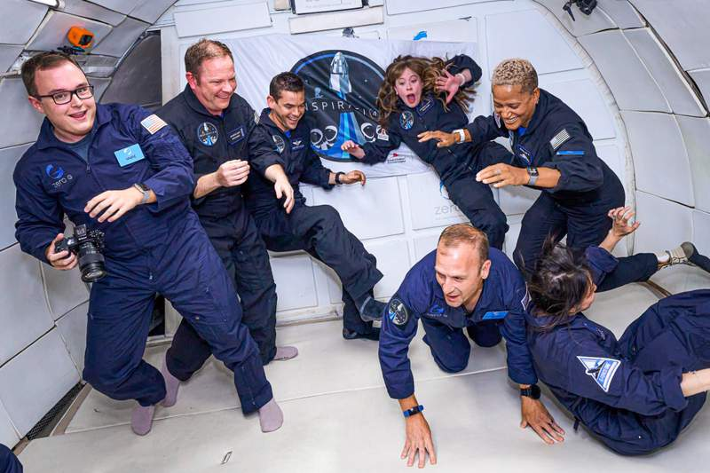 John Kraus (front) and the Inspiration 4 crew on a parabolic flight.