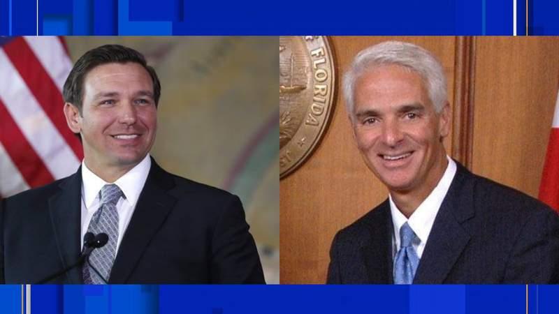 (Left) Gov. Ron DeSantis (R), (Right) U.S. Rep. Charlie Crist (D)