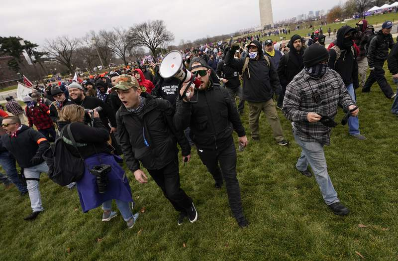 FILE - In this Jan. 6, 2021, file photo, people march as they attend a rally in Washington in support of President Donald Trump. White supremacist propaganda reached alarming levels across the U.S. in 2020, according to a new report that the Anti-Defamation League shared with The Associated Press. (AP Photo/Carolyn Kaster, File)