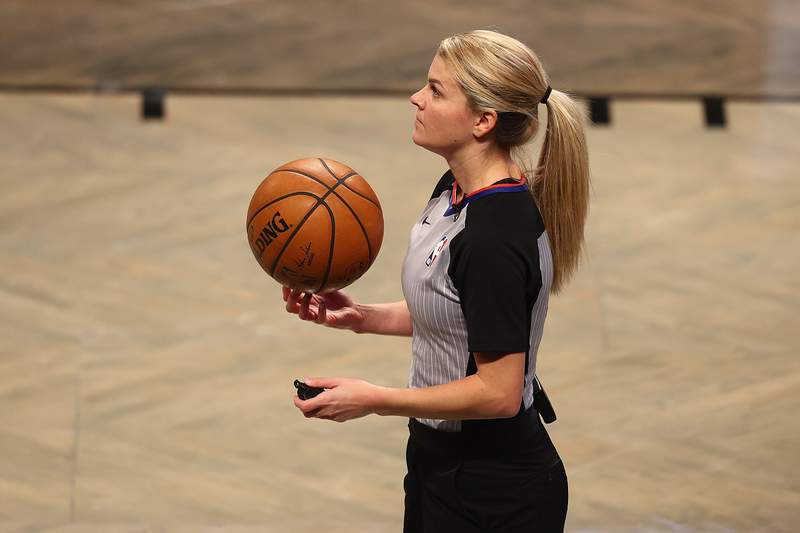 NEW YORK, NEW YORK - DECEMBER 28: Referee Jenna Schroeder on the court during the game between the Brooklyn Nets and the Memphis Grizzlies at Barclays Center on December 28, 2020 in New York City. Memphis Grizzlies defeated the Brooklyn Nets 116-111. (Photo by Mike Stobe/Getty Images)