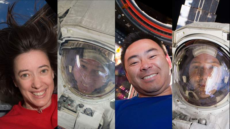 The members of the SpaceX Crew-2 mission to the International Space Station. Picture from left are NASA astronauts Megan McArthur and Shane Kimbrough, JAXA (Japan Aerospace Exploration Agency) astronaut Akihiko Hoshide and ESA (European Space Agency) astronaut Thomas Pesquet. Credits: NASA