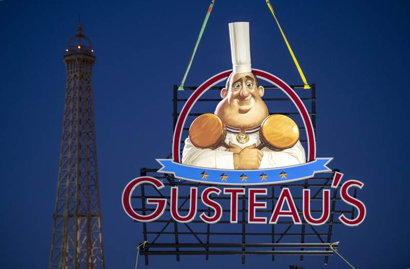 The sign for Gusteau's restaurant hangs in the France pavilion at Epcot, Jan. 13, 2020, at Walt Disney World Resort.