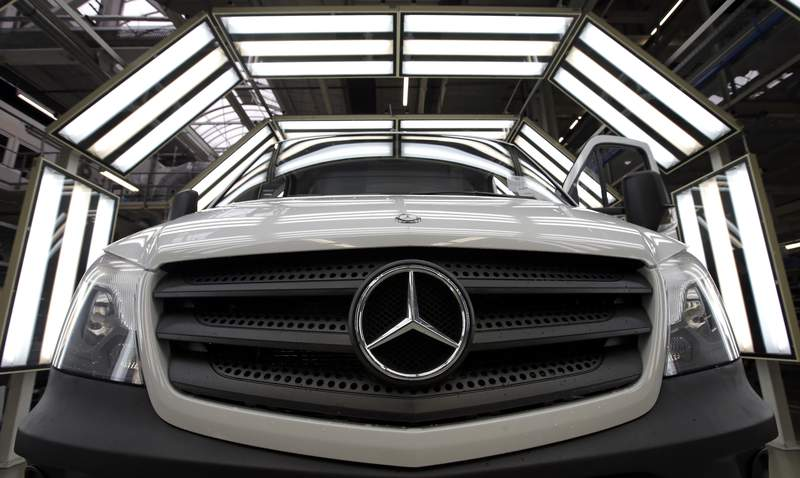 FILE - In this June 23, 2015 file photo a van is pictured in a light tunnel at the Mercedes-Benz automobile plant in Ludwigsfelde, near Berlin. Daimler did present figures on Wednesday, April 29, 2020.  (Photo/Michael Sohn, file)