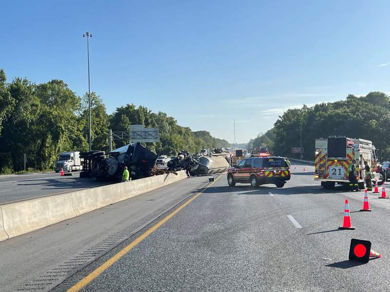 The driver of a tractor-trailer was killed Monday, July 12, 2021 in a crash on I-75 in Sumter County. (Image: FHP)