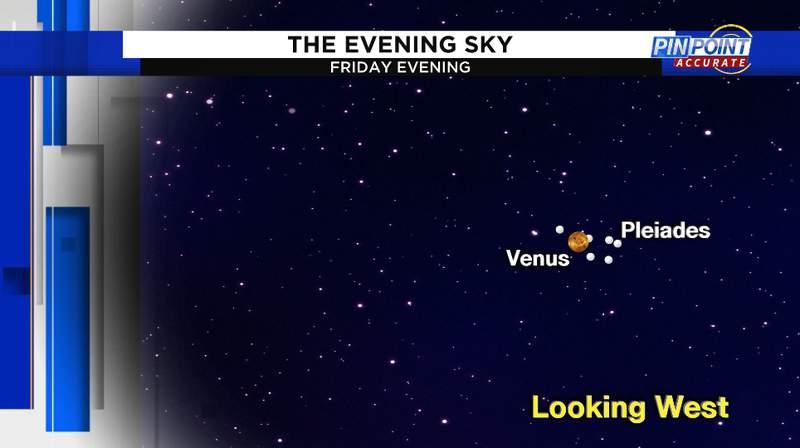Venus and The Pleiades Friday evening.