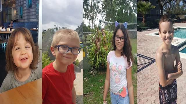 From right to left: Irayan, age 12, Lillia, age 10, Aidan, age 6, and Dove, age 1.
