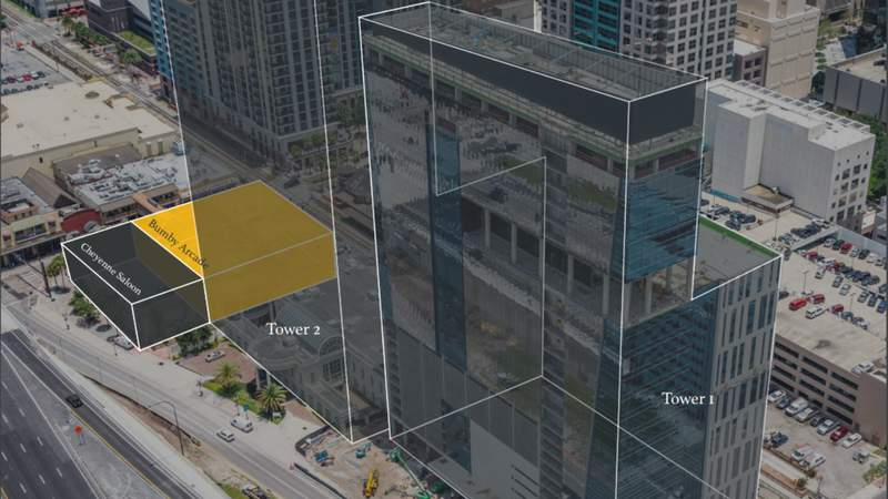 Rendering showing development surrounding the Bumby Arcade