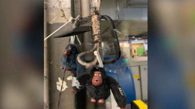 Two TSA officers have been placed on leave after a noose with stuffed monkeys attached was found at Miami International Airport.