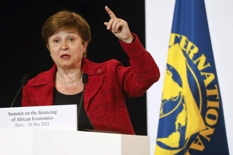 FILE - In this May 18, 2021 file photo, International Monetary Fund Managing Director Kristalina Georgieva speaks at the end of the Financing of African Economies Summit in Paris. Kristalina Georgieva, the head of the International Monetary Fund met on Wednesday, Oct. 6, 2021 with her agency's executive board, which is conducting an investigation into alleged data-rigging at the World Bank, the sister global lender where she was formerly was a top executive. (Ludovic Marin via AP, Pool, File)