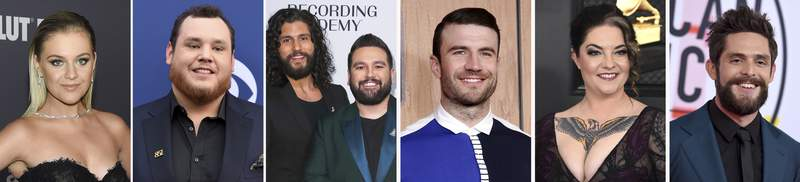 This combination photo shows, from left, Kelsea Ballerini, Luke Combs, Shay Mooney and Dan Smyers, of Dan + Shay, Sam Hunt, Ashley McBryde and Thomas Rhett, who top the 2020 CMT Music Awards nominations with three each. The fan-voted music video awards show was delayed from the summer because of the COVID-19 pandemic and will air on Oct. 21, 2020. (AP Photo)