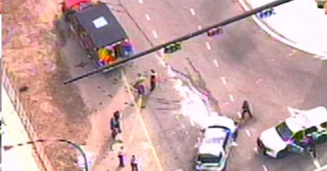 An Orlando police patrol vehicle was involved in a crash by Colonial Drive Monday. (Sky 6)