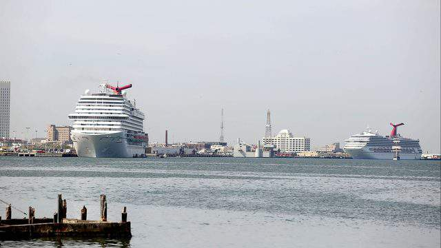 "Carnival Cruise ""Triumph"" along with two other ships are seen in the Houston Port."