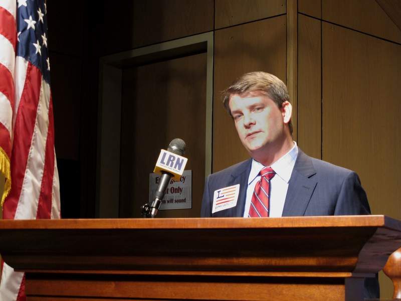 FILE - In this July 22, 2020 file photo, Luke Letlow, R-Start, chief of staff to exiting U.S. Rep. Ralph Abraham, speaks after signing up to run for Louisiana's 5th Congressional District in Baton Rouge, La. Letlow, who was elected to Congress in a December runoff, died Tuesday, Dec. 29, 2020, of complications from COVID-19. (AP Photo/Melinda Deslatte, File)