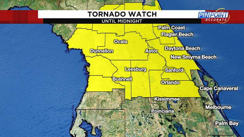 Tornado watch in effect until midnight for yellow shaded areas.