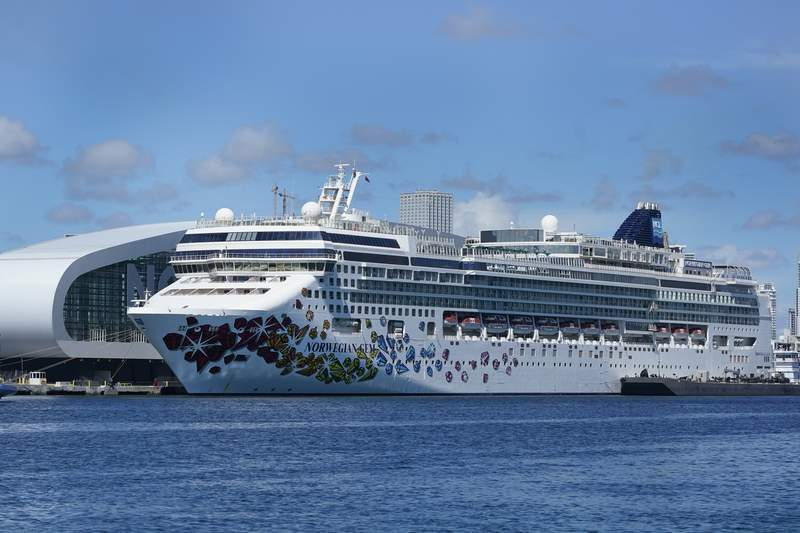The Norwegian Gem cruise ship is shown docked, Monday, Aug. 9, 2021, at PortMiami in Miami.
