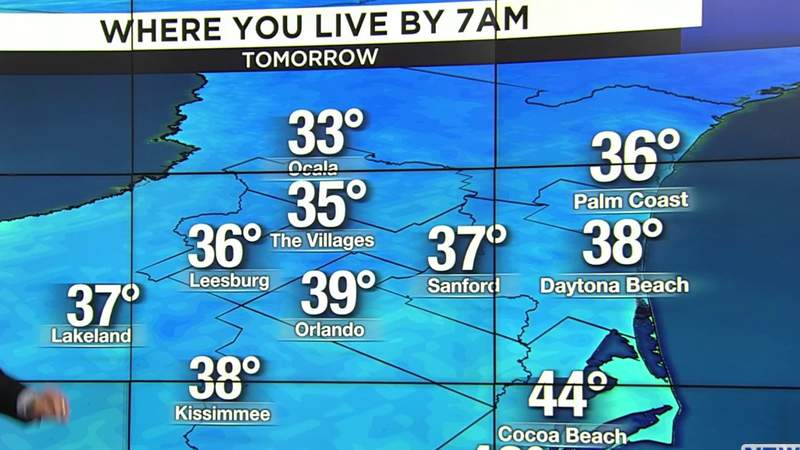 Cold shelters are opening across Central Florida as temperatures may dip into the 30s Tuesday night into Wednesday morning.