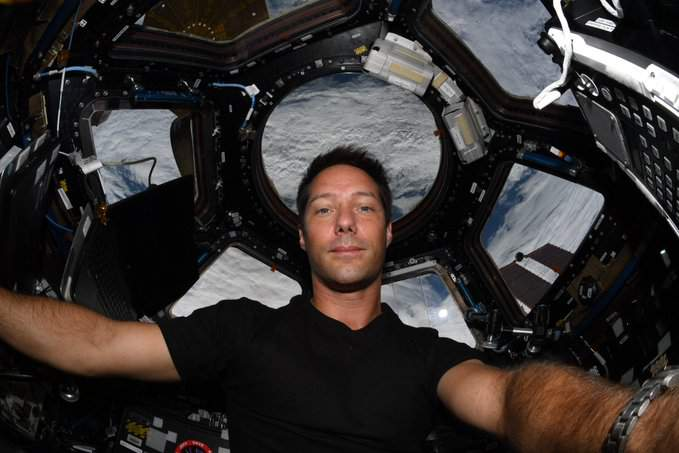 European Space station Astronaut Thomas Pesquet in the International Space Station cupola in May 2021. (Image credit: Thomas Pesquet/ESA)
