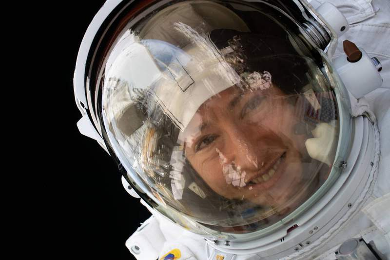 NASA astronaut Christina Koch is pictured during a spacewalk on January 15, 2020. (Credits: NASA)