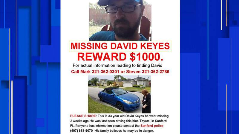 Missing person flyer for David Keyes