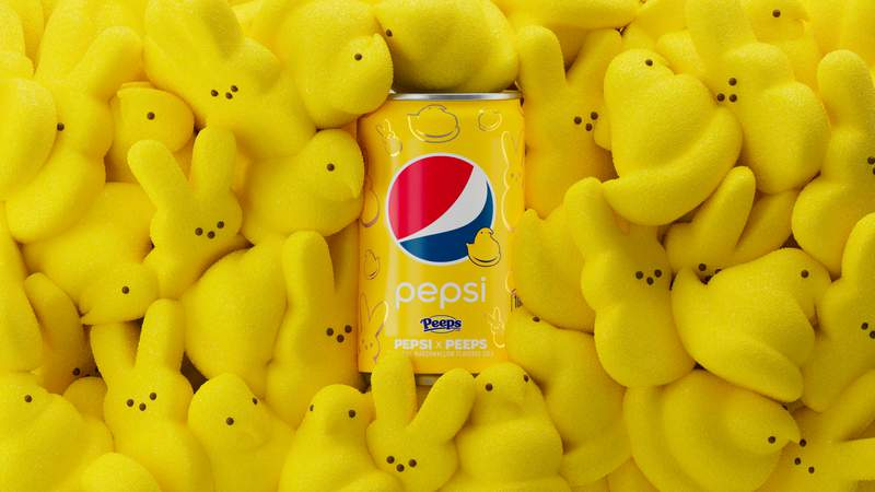 Pepsi announced a collaboration with Peeps called PEPSI x PEEPS.