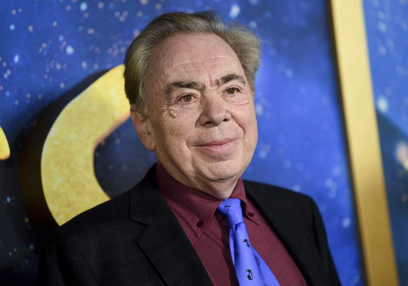 "FILE - This Dec. 16, 2019 file photo shows composer and executive producer Andrew Lloyd Webber attending the world premiere of ""Cats"" in New York. Webber is celebrating the 50th anniversary of the release of his Jesus Christ Superstar album with the first single from his latest musical  Cinderella. The song is called Bad Cinderella and is sung by Carrie Hope Fletcher, who plays the title character in what is being billed as a complete reinvention of the classic fairytale. (Photo by Evan Agostini/Invision/AP, File)"
