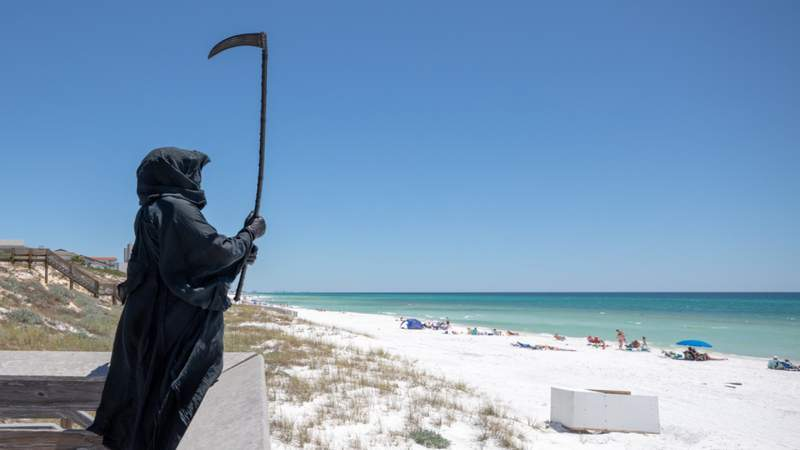 Grim Reaper protests beaches opening in Florida