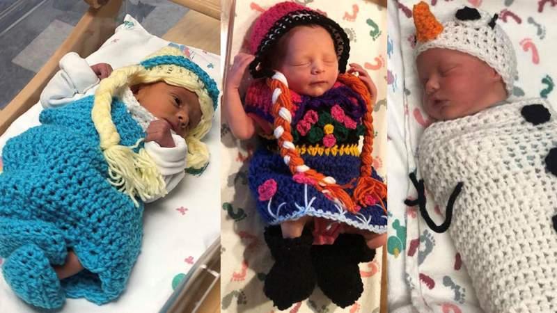 "Newborns dressed as ""Frozen 2"" characters at Saint Luke's South Hospital in Kansas. (Credit: Saint Luke's South)"