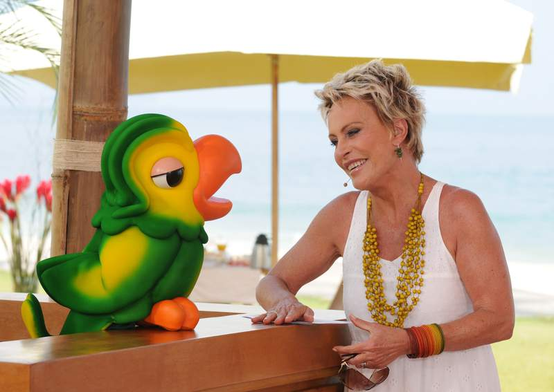 In this photo released on Nov. 2, 2020 by Globo, Globo TV presenter Ana Maria Braga smiles next to the parrot puppet Louro Jose, played by Tom Veiga, in Rio de Janeiro, Brazil. An outpouring of emotion in Brazil has followed news that the puppeteer behind Louro Jos, a two-foot-tall parrot thats a fixture on the countrys most popular morning show, had passed away. (Globo via AP)