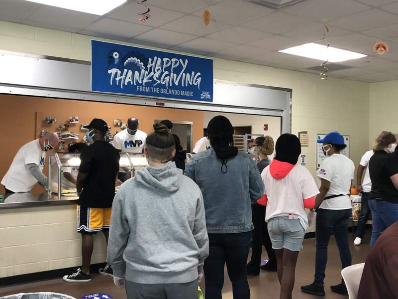 Orlando Magic host annual Thanksgiving event at the Coalition for the Homeless during the COVID-19 pandemic.