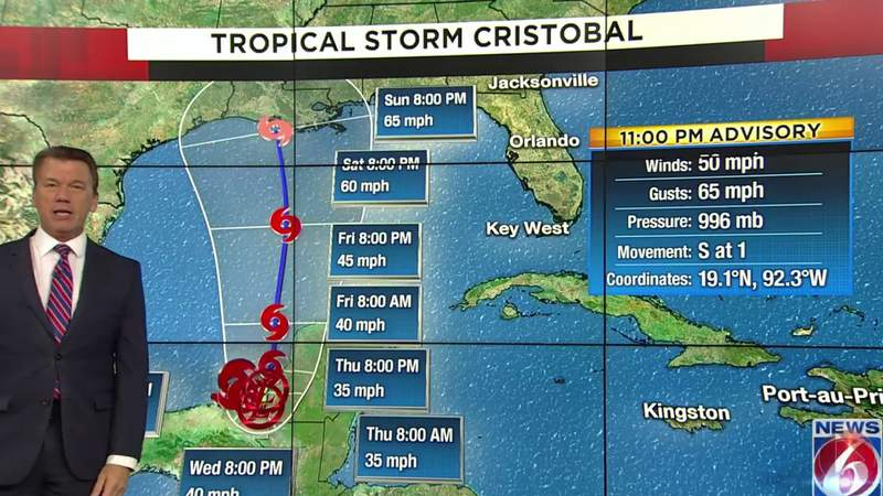 Tropical Storm Cristobal formed Tuesday afternoon in the Gulf of Mexico, according to the National Hurricane Center.