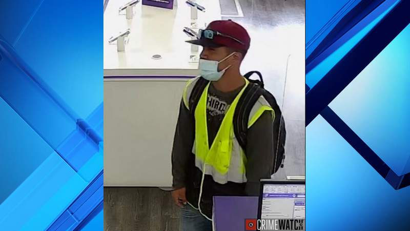 DeLand police say this man used a machete while stealing cash from a MetroPCS store.