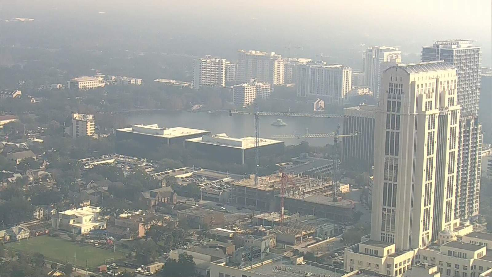 A haze caused by controlled burns covers downtown Orlando on Jan. 22, 2020.