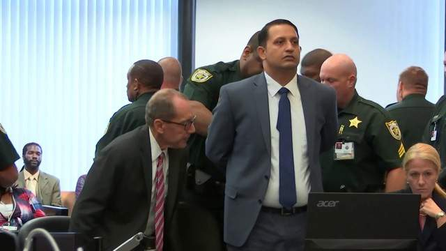 Nouman Raja is handcuffed and led out of the courtroom after being found guilty of manslaughter and attempted first-degree murder in the 2015 fatal shooting of Corey Jones, March 7, 2019, in West Palm Beach, Florida.