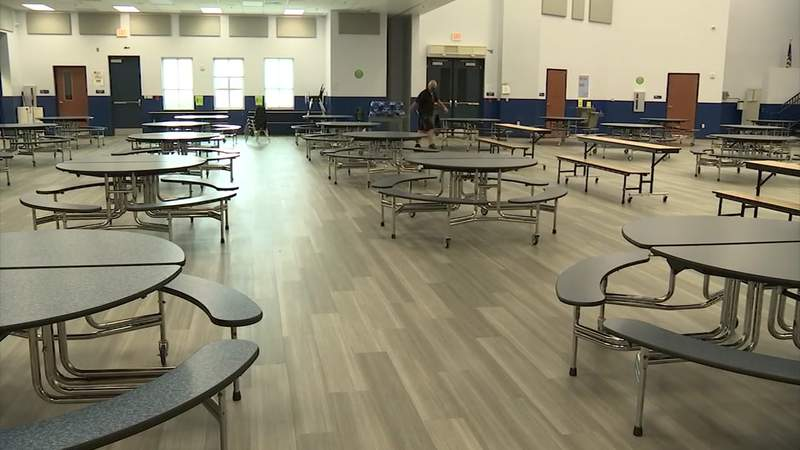 A lunchroom in a St. Johns County school