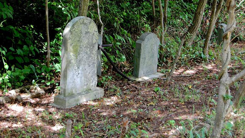This photo provided by the New York Landmarks Conservancy shows grave markers at the Rossville A.M.E. Zion Church Cemetery, part of the historic Sandy Ground community that was among the nation's first free-black settlements, on Monday, July 11, 2016, in the Staten Island borough of New York. The Conservancy announced that specialists using ground-penetrating radar have detected hundreds of previously undiscovered gravesites, at an average depth of about 10 feet, in the African-American burial ground that dates to the 1830s. The city has two other important African-American historic sites: Weekville, another free-black settlement in Brooklyn, and the African Burial Ground, in lower Manhattan. (Glen Umberger/New York Landmarks Conservancy via AP)