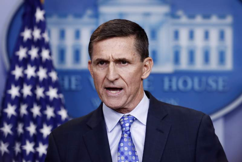 FILE - In this Feb. 1, 2017 file photo, National Security Adviser Michael Flynn speaks during the daily news briefing at the White House, in Washington. The Justice Department says it will not oppose probation for former Trump administration national security adviser Michael Flynn.  (AP Photo/Carolyn Kaster)