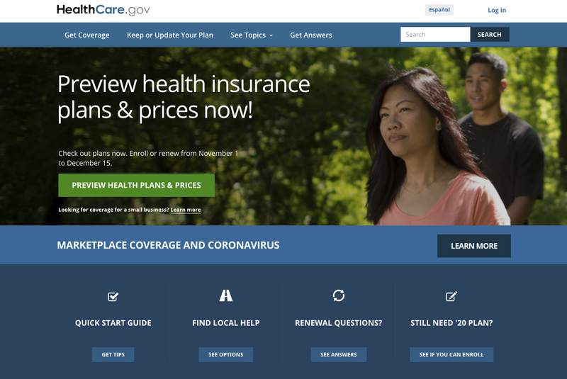 FILE - This image provided by U.S. Centers for Medicare & Medicaid Service shows the website for HealthCare.gov. Government figures out Friday, Dec. 18 show sign-ups for Obamacare health insurance plans are trending more than 6% higher amid surging coronavirus cases and deepening economic misery.  (U.S. Centers for Medicare & Medicaid Service via AP)
